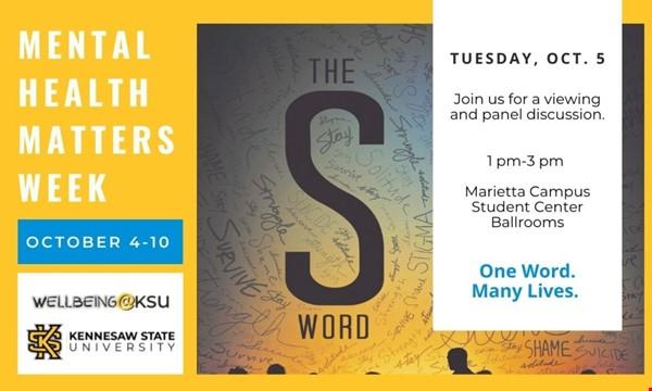 "Mental Health Matters Week - ""The S Word"" documentary"